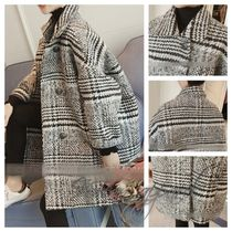 Short Other Check Patterns Zigzag Coats