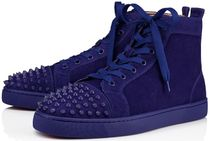 Christian Louboutin Suede Blended Fabrics Studded Plain Sneakers