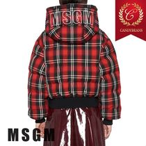 MSGM Short Other Check Patterns Down Jackets
