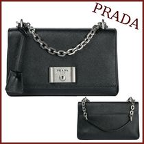 PRADA SAFFIANO VERNICE Unisex Saffiano Bag in Bag Chain Plain Party Style Handbags