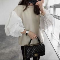 Casual Style Bi-color Plain Medium Puff Sleeves