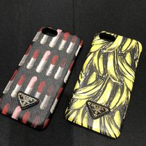 PRADA SAFFIANO LUX Unisex Blended Fabrics Leather Smart Phone Cases