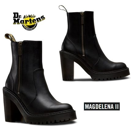 Dr Martens Ankle & Booties Plain Toe Casual Style Plain Leather Block Heels