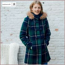 Mademoiselle R Other Check Patterns Casual Style Wool Medium Duffle Coats