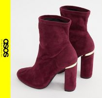 ASOS Casual Style Faux Fur Block Heels Ankle & Booties Boots