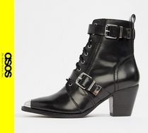 ASOS Casual Style Leather Block Heels Ankle & Booties Boots