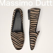 Massimo Dutti Leopard Patterns Leather Office Style Loafer Pumps & Mules