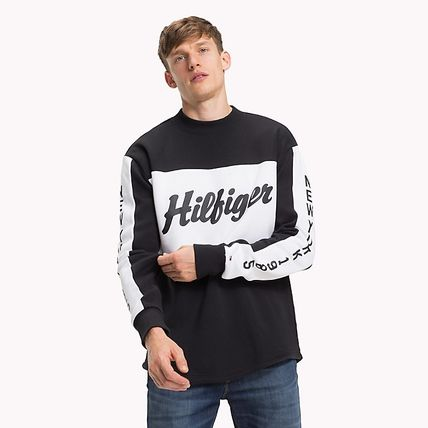 Tommy Hilfiger Sweatshirts Crew Neck Long Sleeves Plain Cotton Logos on the Sleeves 2