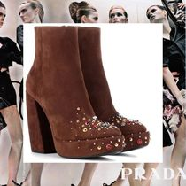 PRADA Platform Suede With Jewels Elegant Style