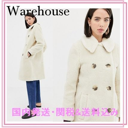 Casual Style Faux Fur Blended Fabrics Plain Long Peacoats