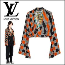 Louis Vuitton Other Check Patterns Silk Elegant Style Puff Sleeves