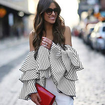 Stripes Casual Style Bandeau & Off the Shoulder