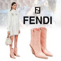FENDI Cowboy Boots Casual Style Other Animal Patterns Leather