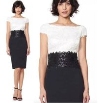 TADASHI SHOJI Flower Patterns Tight Nylon Blended Fabrics Boat Neck Plain