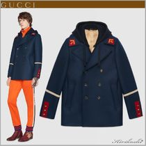 GUCCI Short Wool Street Style Plain Peacoats Coats