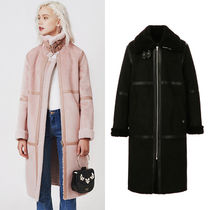 Guess Casual Style Plain Long Fur Leather Jackets Coats