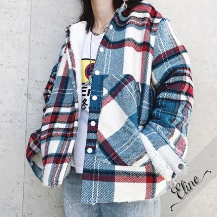 Shirts Other Check Patterns Street Style Long Sleeves Cotton