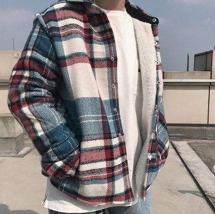 Shirts Other Check Patterns Street Style Long Sleeves Cotton 3