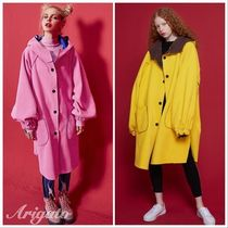 ELF SACK Casual Style Street Style Bi-color Plain Long Oversized