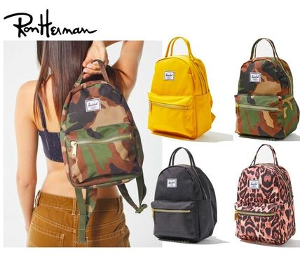 Leopard Patterns Casual Style Street Style Plain Backpacks