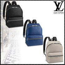 Louis Vuitton TAIGA Blended Fabrics A4 Plain Leather Backpacks