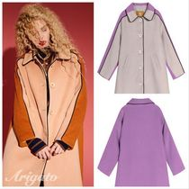 ELF SACK Stand Collar Coats Casual Style Wool Street Style Bi-color