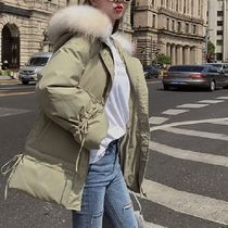 Faux Fur Blended Fabrics Tassel Plain Medium Khaki Parkas