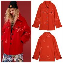 ELF SACK Star Casual Style Street Style Medium Coats