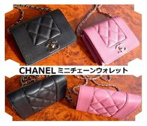 CHANEL CHAIN WALLET Chain Leather Party Style Crossbody Shoulder Bags