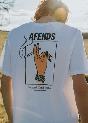 AFENDS More T-Shirts Unisex Street Style U-Neck Plain Cotton Short Sleeves
