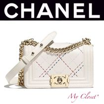 CHANEL BOY CHANEL Other Check Patterns Calfskin Blended Fabrics 2WAY Chain