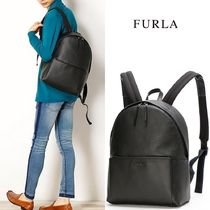 FURLA A4 Plain Leather Backpacks