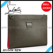 Christian Louboutin Blended Fabrics Plain Leather Clutches