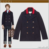 GUCCI Short Wool Plain Peacoats Coats