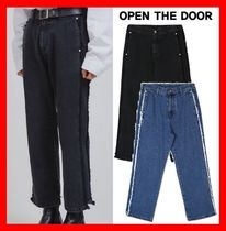 OPEN THE DOOR Casual Style Unisex Street Style Cotton Jeans