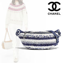 CHANEL Stripes Bi-color Elegant Style Bags