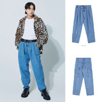 OPEN THE DOOR Casual Style Unisex Denim Street Style Plain Long Oversized
