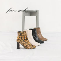 Leopard Patterns Square Toe Casual Style Suede Street Style