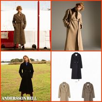 ANDERSSON BELL Other Check Patterns Unisex Wool Long Elegant Style Peacoats