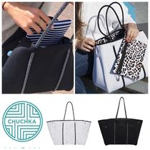 Chuchka Stripes Leopard Patterns Casual Style A4 Totes