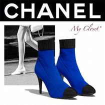 CHANEL ICON Plain Toe Blended Fabrics Street Style Plain Pin Heels