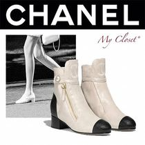 CHANEL ICON Plain Toe Blended Fabrics Street Style Plain Leather