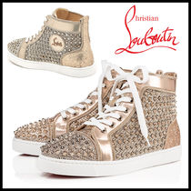 Christian Louboutin Round Toe Rubber Sole Lace-up Street Style Leather