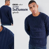 ASOS Crew Neck Cable Knit Street Style Long Sleeves Plain