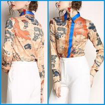 Other Check Patterns Flower Patterns Chiffon Long Sleeves
