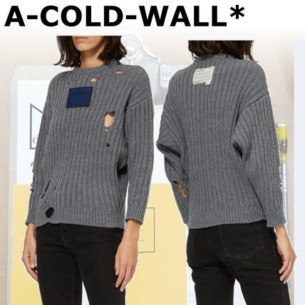 Crew Neck Casual Style Wool Blended Fabrics Street Style