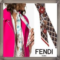 FENDI Flower Patterns Monogram Silk Elegant Style