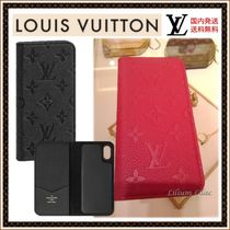 Louis Vuitton MONOGRAM EMPREINTE Monogram Plain Leather Smart Phone Cases