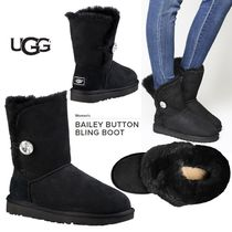 UGG Australia BAILEY BUTTON Round Toe Sheepskin Blended Fabrics Plain Flat Boots