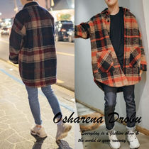 Other Check Patterns Street Style Long Coach Jackets